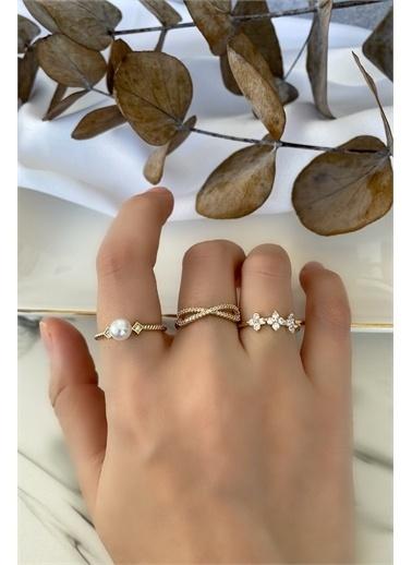 My Joyas Design Gümüş Kaplama ci 3'Lü Yüzük Seti Altın